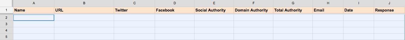 Creating an outreach spreadsheet